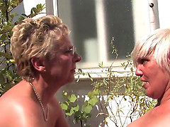 Blonde Lesbos on balkon makes fantasies come true