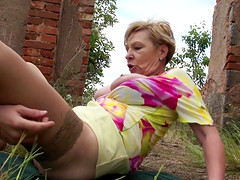 Mature woman is curious about a handsome stud's cock