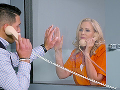 Julia Ann is a mature blonde inmate craving a big dick