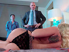 Beautiful Christie Stevens makes her husband watch her getting a facial