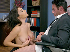 Valentine Napi wet pussy licked seductively in the office