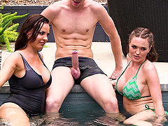 Great pool threesome with insatiable Dana Dearmond and Krissy Lynn