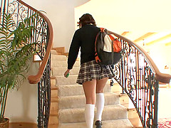 Pretty 1 brunette, Bella Rey, wearing a Catholic collegegirls uniform, gives a man