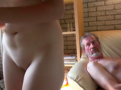 Daisy Cake attacks a mature fellow for a sex session