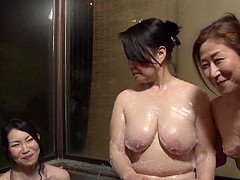 Mature Japanese women enjoy a hot lesbian sex game