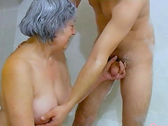 Hairy granny visited by lusty couple enjoying toys masturbation threesome