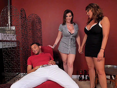 Ava Devine and another milf are on their knees pleasing a dick
