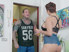 Buxom Amaranta Hank having her twat bashed by a tattooed dude