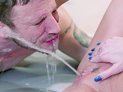 Tattooed guy finally gets to fuck hot Tiffany Watson while she moans