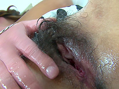 Nasty babe likes to moan while a friend fucks her hairy pussy