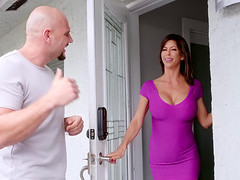 Busty Alexis Fawx pleases a friend by screwing with him roughly