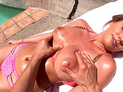 Alexis Adams gets her hairy cunt pounded by a friend outdoors