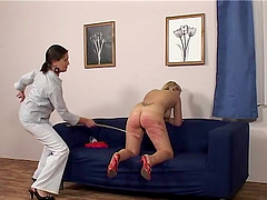 Hitting a cute friend with a stick makes this mistress happy
