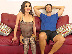 Smoking hot Kalina Ryu gets her hands on a long delicious dick