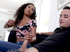 Horny babe Demi Sutra finally gets to play with his hard cock