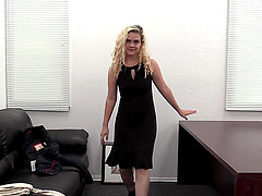 Chubby blonde Angel fucked hard by a big black cock in casting