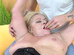 Mature chubby blonde granny Sara V. gets her hairy pussy pounded