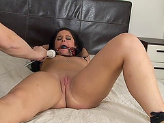 Nicola Kiss is tied up and unable to resist multiple forced orgasms