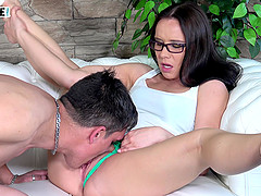 Slutty MILF Wendy Moon sucks a cock and gets her pussy licked