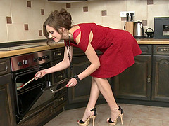 Brunette housewife Tina Kay ass and pussy fucked in the kitchen