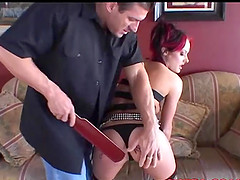 Melissa Lauren gets spanked and receives his dick into her tight ass