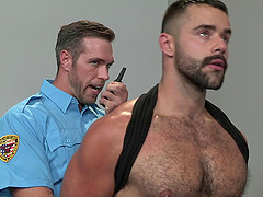 Muscled Latino gay inmate pounds a prison guard in jail