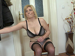 Busty blonde amateur MILF Galinka makes herself cum with a dildo
