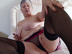 Short haired granny Savana fingers her smooth shaved pussy in heels