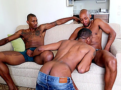 Gay threesome is the first gay experience of black dude King BStaxx