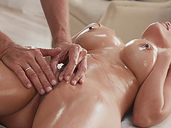Blonde Latina MILF Luna Star oiled up and impaled on a big dick