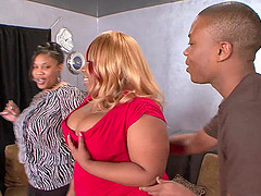 Chubby busty ebony mature BBW Pradathick gets her fat ass pounded