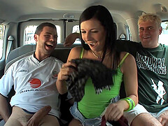 Ashli Orion and Amy Brooke in a hardcore car group sex scene