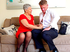 Short haired mature buxom granny Savana pounded doggy style