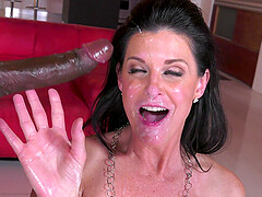 Mature MILF nympho India Summer swallows cum from multiple black cocks