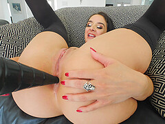 Close up anal toy stuffing with brunette bombshell Sheena
