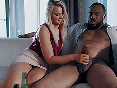 Blonde MILF babe Gemma Parker rides a big black dick on the couch