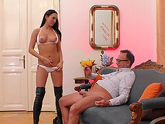 Bombshell MILF in leather boots Tina Belle gets on her knees to suck