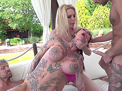 Kelly Stafford and Megan Inky getting their faces fucked in a foursome