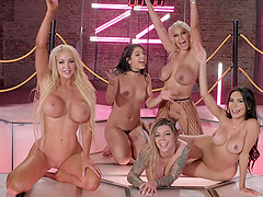 Pornstar Lela Star and her slutty friends in an intense group fuck