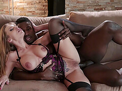 MILF babe in lingerie Britney Amber pounded from behind by a black guy