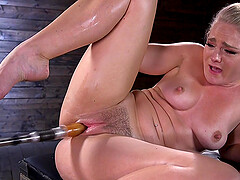 Curvy blonde slut Lisey Sweet poiunds herself with toys