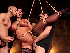 MILF whore Raven Hart tied up and gangbanged hardcore