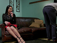 Latina tall shemale Chanel Santini gets her cock sucked in an office