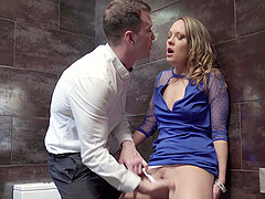 Hardcore fuck in a public bar bathroom with Blue Angel