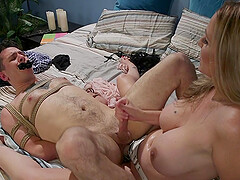 Bombshell dominant MILF Julia Ann pegs her man and strokes his dick