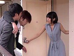 Japanese short haired brunette gets cum on face in a bra