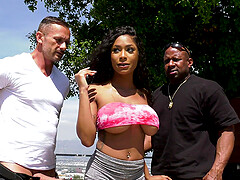 Inked ebony bombshell Sarai Minx sprayed with cum in a gangbang