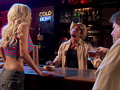 busty blonde Puma Swede adores fuck in different poses at the bar