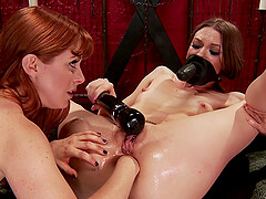 Pornstars Penny Pax and Alexa Nova play with a massive dildo