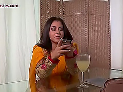 Brunette Indian chick moans while a friend eats her delicious pussy